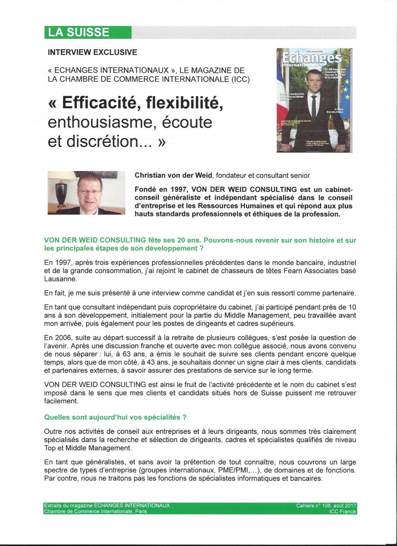 Von der weid consulting executive search selection for Chambre de commerce internationale de paris